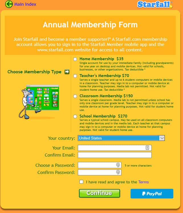 starfall costs $35 a year for the membership.