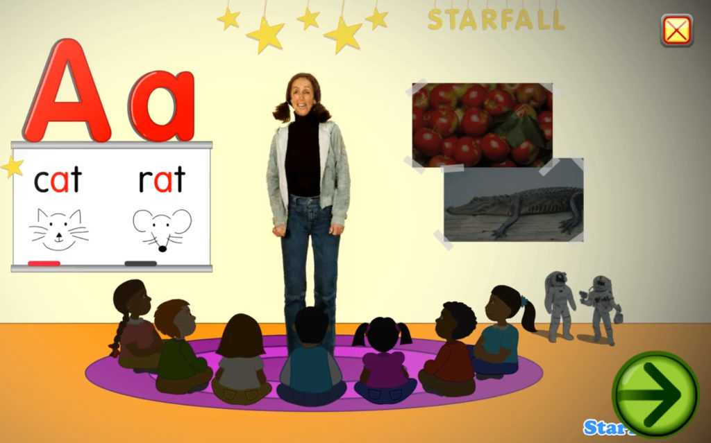 An example of how starfall teaches single phonic sounds.
