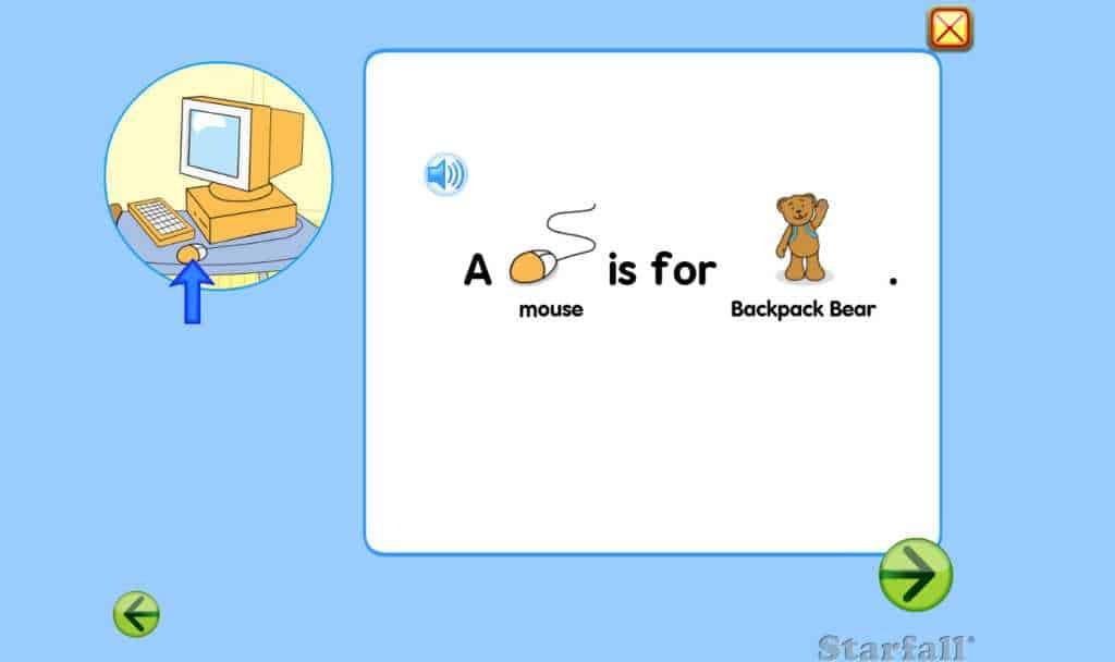 An example of the Starfall phonic readers.